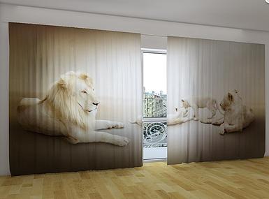 """Панорамная фото штора """"Белые львы"""" 270 х 500 см"""