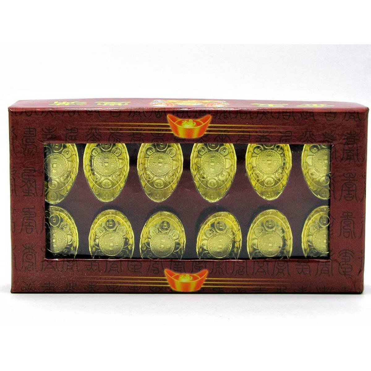 Чаша богатства золотая (н-р 12 шт)(14х8х2,5 см) ( 18436)