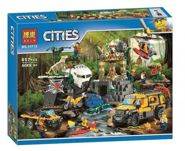 """Конструктор Bela 10712 """"База исследователей джунглей"""" (аналог Lego City 60161) 857 дет"""