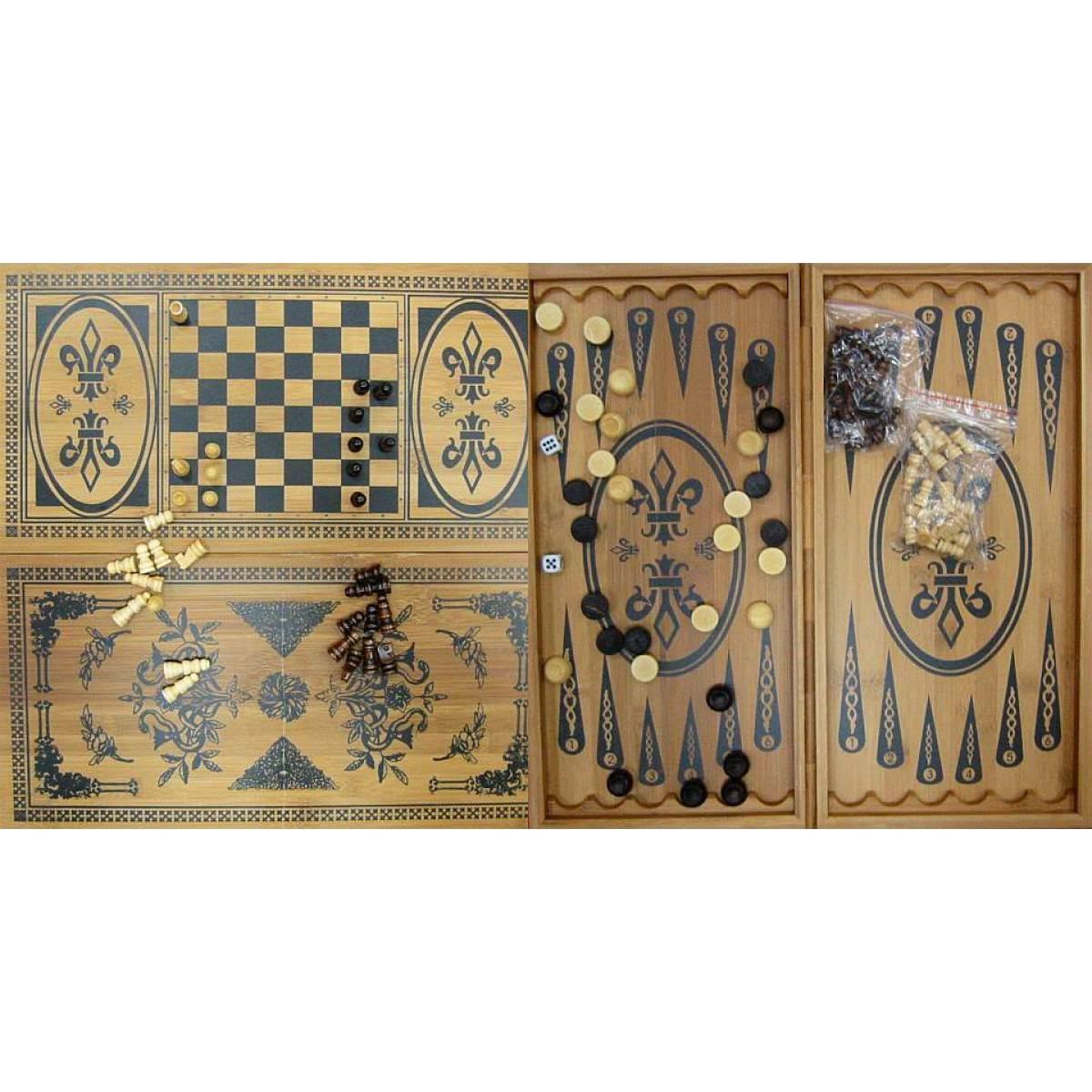 Нарды+шахматы из бамбука (60х30х4 см) (6030-C) (22750)