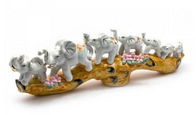 Слоны 7 шт фарфор (39х12,5х7 см)