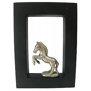 """Картина с бронзовой фигурой """"Лошадь"""" (21x15) (Индонезия) ( 19087)"""