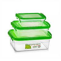 Набор пищевых контейнеров — зелёная крышка, объём 0.55 л + 1.2 л + 2.5 л