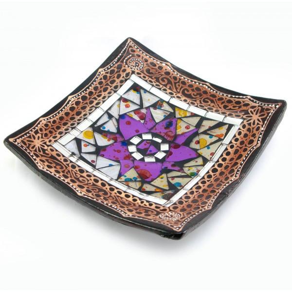 Блюдо терракотовое с мозаикой (15х15х3 см) ( 29456)