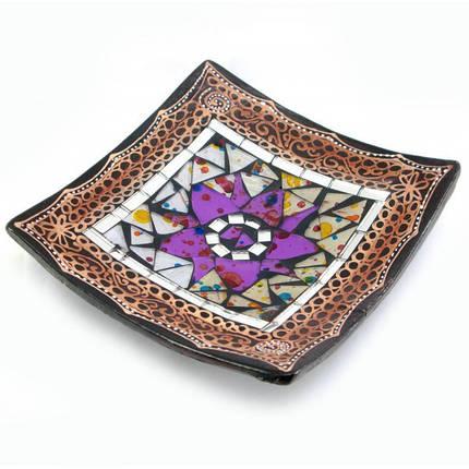 Блюдо терракотовое с мозаикой (15х15х3 см) ( 29456), фото 2