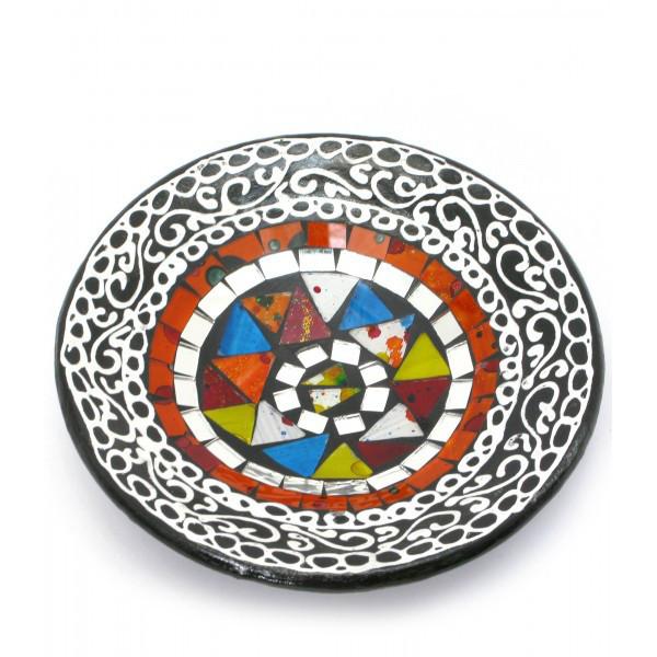 Блюдо терракотовое с мозаикой (d-14,5 см h-4,5 см) ( 29685)