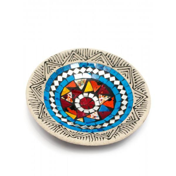 Блюдо терракотовое с мозаикой (d-19,5 h-3 см) ( 29457)