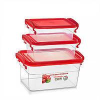 Набор пищевых контейнеров — красная крышка, объём 2 л + 0.95 л + 0.55 л