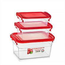 Набор  контейнеров для еды 3 шт  2 л + 0.95 л + 0.55  л красный