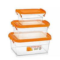 Набор пластиковых контейнеров— жёлтая крышка, объём 0.85 л + 1.6 л + 3 л