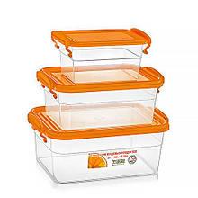 Набор  контейнеров для еды 3 шт 0.85 л + 1.6 л + 3 л жёлтый