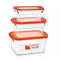 Набор контейнеров для еды — оранжевая крышка, объём 3.5 л + 2 л +1.15 л