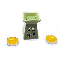 Аромалампа подарочный набор зеленая 12х8,5х7см  (32391)