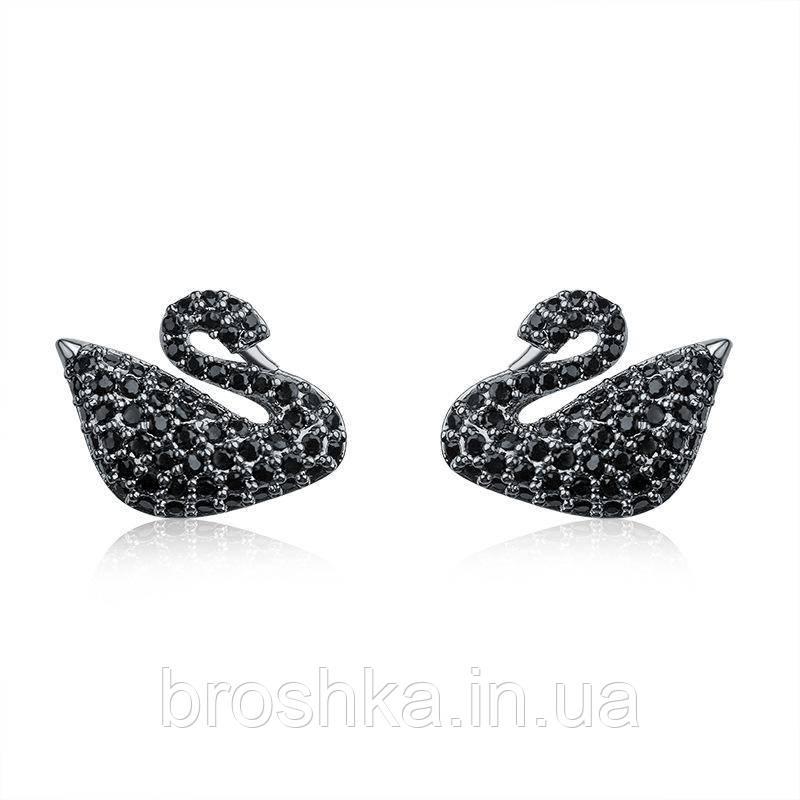 Черные серьги лебедь с камнями Swarovski бижутерия