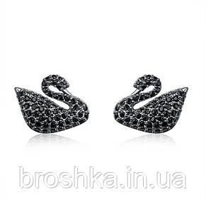 Черные серьги лебедь с камнями Swarovski бижутерия, фото 2