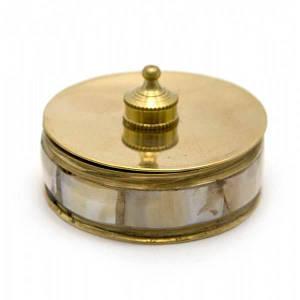 Шкатулка бронзовая с перламутром (d-4.3,h-2,5 см) ( 23488)