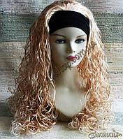 Искусственный парик милировка на повязке с подкладкой, цвет: блонд, длина: 55 см