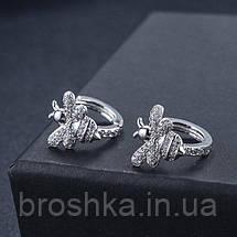 Белые серьги кольца в виде пчел ювелирная бижутерия, фото 3