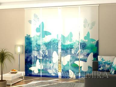 """Панельная фото штора """"Синие бабочки"""" 240 х 240 см"""