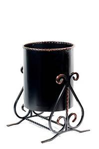 Уличная металлическая кованая черная урна №7, 35 х 40 х 50 см