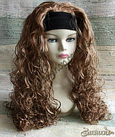 Искусственный парик милировка на повязке с подкладкой, цвет: каштан, длина: 55 см