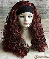 Искусственный парик милировка на повязке с подкладкой, цвет: красное дерево, длина: 55 см