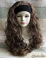 Искусственный парик милировка на повязке с подкладкой, цвет: темно-русый, длина: 55 см