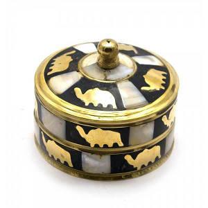 Шкатулка бронзовая с перламутром (d-7,h-5,5 см) ( 818)