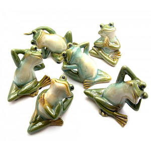 Лягушка керамическая (6 видов)(6 шт/уп)(11х9,5х9 см)(22008) ( 24609)