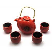 Сервиз керамический (чайник 660мл, h-11см, d-13см; 4 чашки 50мл, h-5,5см, d-5,5см) ( 28012)
