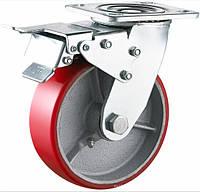 Поворотне c гальмом діаметр 100 мм чавун/поліуретан кульковий підшипник навантаження 240 кг