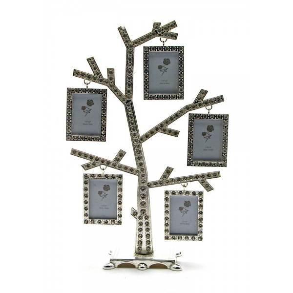 """Фоторамка со стразами """"Дерево"""" (5 фото) (23,5х15х5,5 см) ( 25259)"""