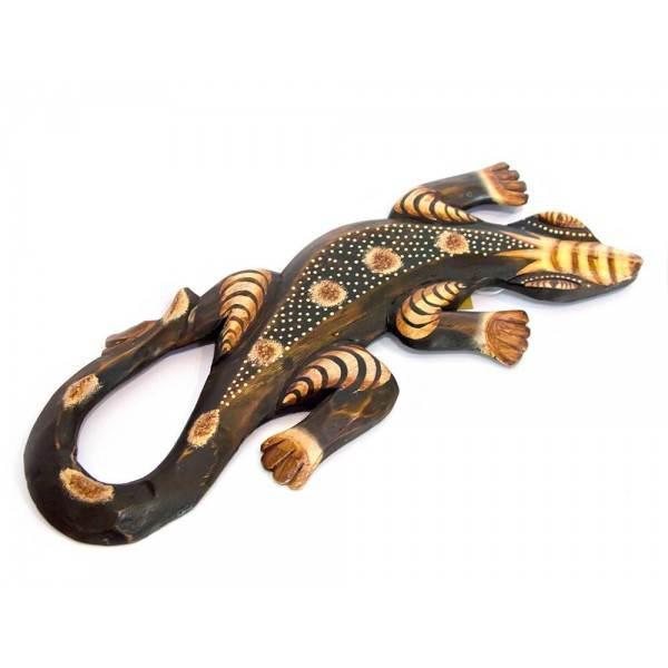 Гекон деревянный с рисунком (30х12х1,5 см) ( 24257)