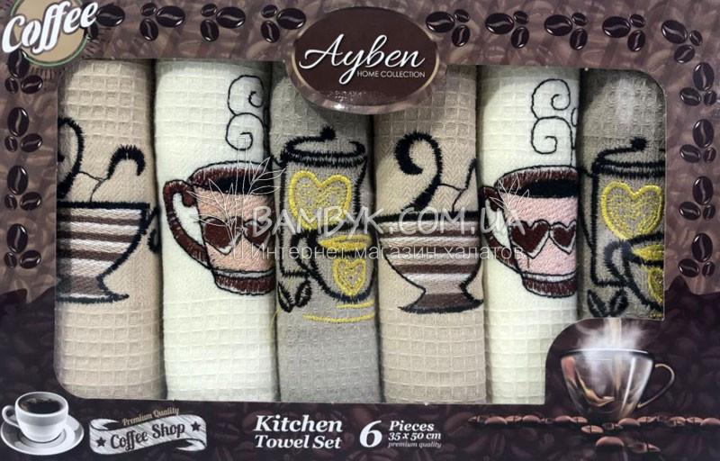 Полотенца для кухни 35x50 (6-шт) вафельные Ayben