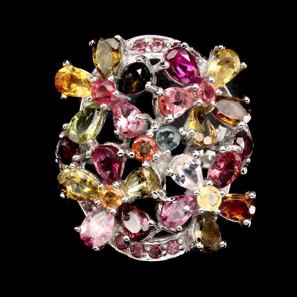 Кольцо с натуральным Турмалином, Гранатами родолитами и Сапфирами