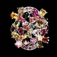 Кольцо с натуральным Турмалином, Гранатами родолитами и Сапфирами, фото 1