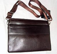Барсетка клатч мужская Gorangd 1603-3 большая коричневая эко-кожа