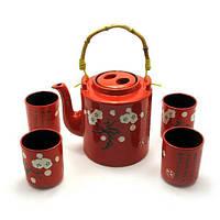 Сервиз керамический (чайник ,4 пиалы)(чайник 1100 мл пиала 125 мл)(28х16х12 см) ( 27914)