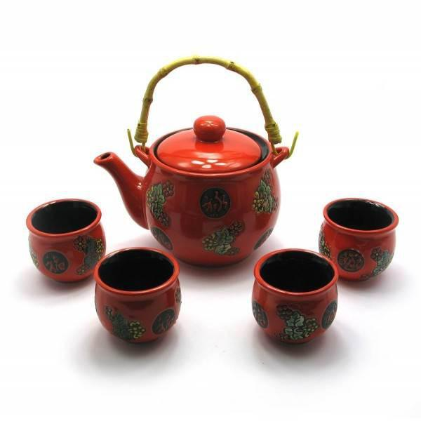 Сервиз керамический (чайник ,4 пиалы)(чайник 700 мл пиала 50 мл(28х17х11,5 см) ( 28014)