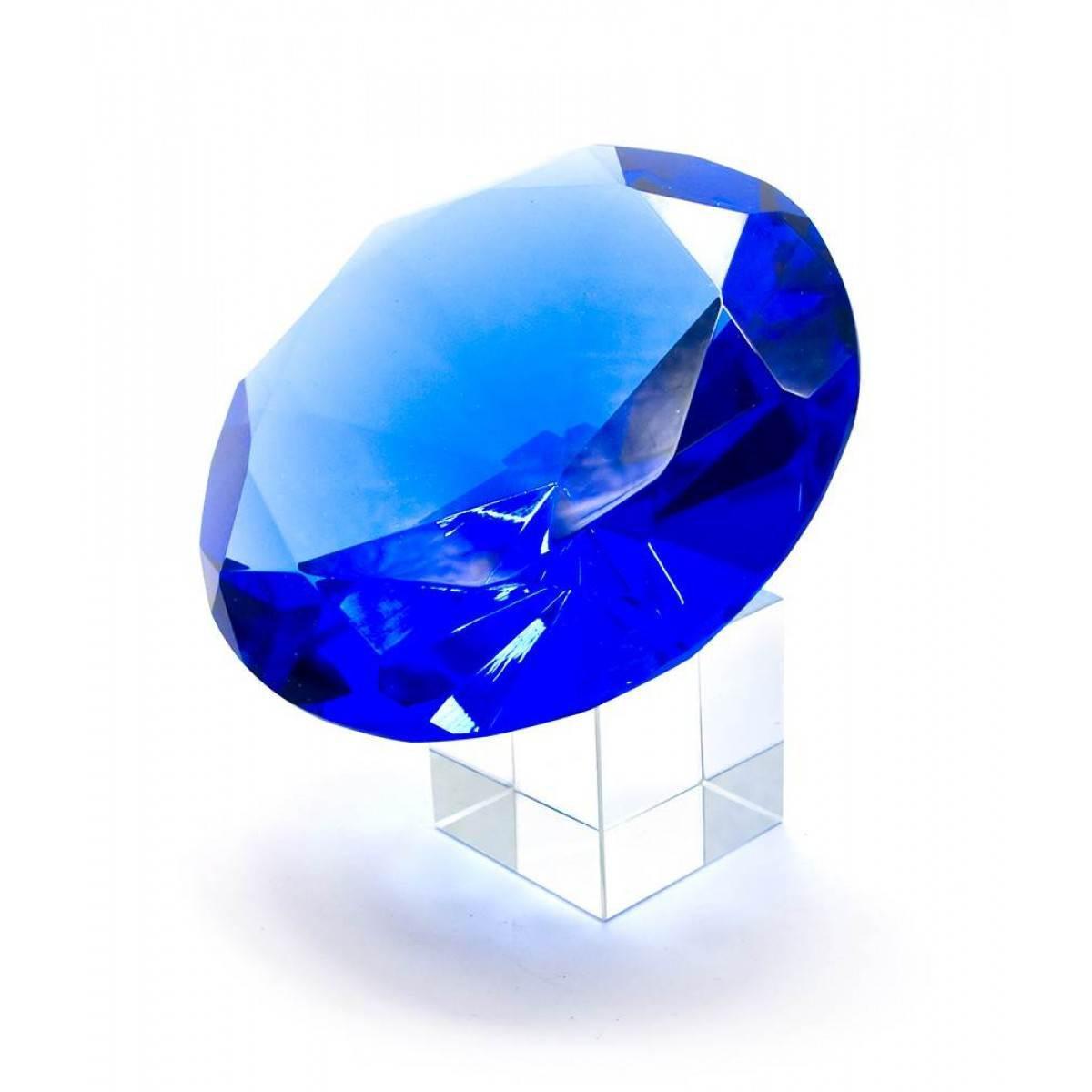 Кристалл хрустальный на подставке синий (10 см) ( 25480)