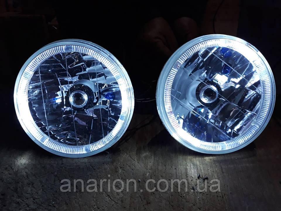 Передние фары на ВАЗ 2106 Ангельские глазки белого цвета.