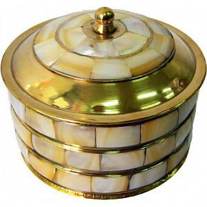 Шкатулка бронзовая с перламутром (d-7,h-7 см) ( 835)