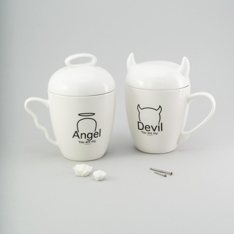 """Набор чашек 2 ед """"Angel"""" 300 мл белые керамические чашки комплект чашка белая с рисунком с надписью"""