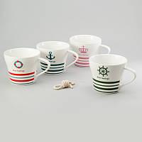 """Набор чашек 4 ед """"sailor"""" 250 мл керамические чашки комплект морская тематика"""