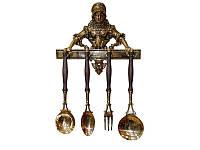 Набор кухонных принадлежностей 4 предмета на вешалке из латуни с деревянной ручкой Cook, Stilars