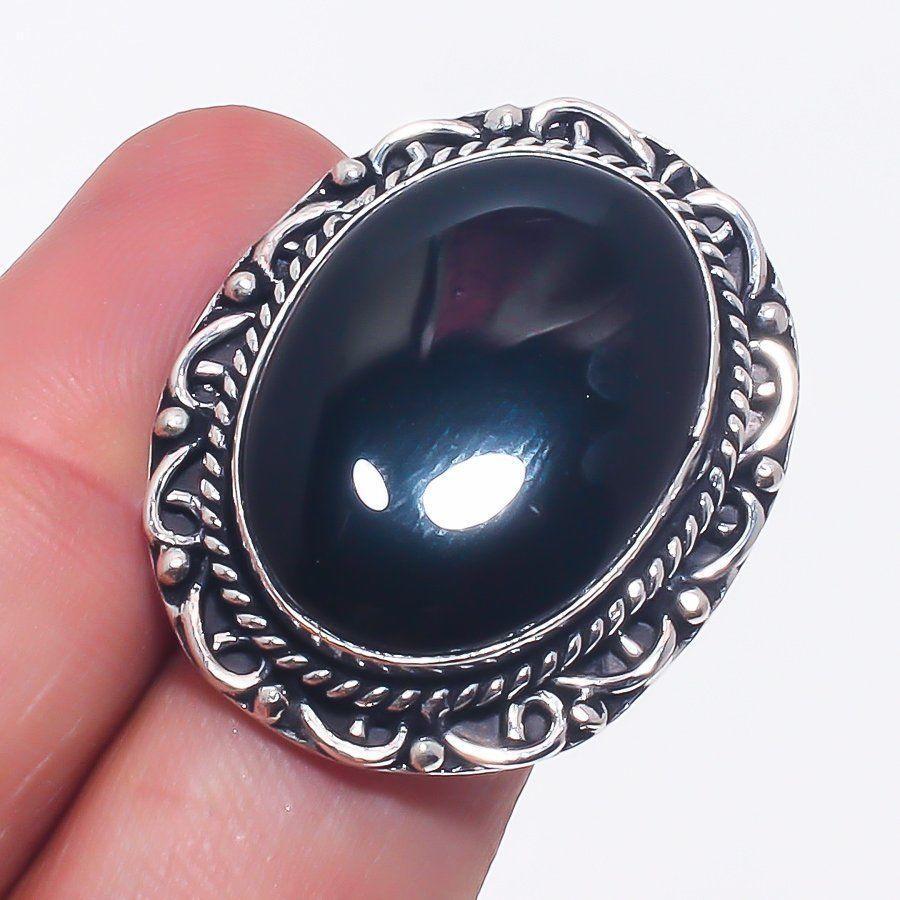 Шикарное овальное кольцо - черный оникс 17,5-17,8 размер в серебре. Кольцо с черным ониксом. Индия