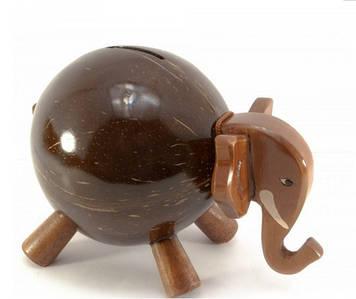 "Копилка ""Слон"" кокосовая (19х13х10 см)"