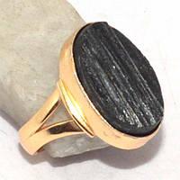 Черный турмалин шерл кольцо с натуральным черным турмалином 17 размер Индия, фото 1
