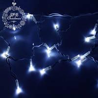Уличная светодиодная гирлянда бахрома (80 LED, 2х0,5м, IP65, белый провод каучук), цвет свечения голубой, фото 1