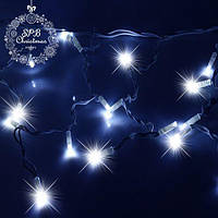 Уличная светодиодная гирлянда бахрома (160 LED, 5х0,7м, IP65, белый провод каучук, МЕРЦАНИЕ), цвет голубой, фото 1
